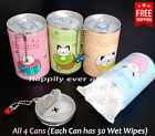 4 PCs Wet Wipe Cans - All 4 Cans! Easy to Carry, Each can has 30 PCs wipe