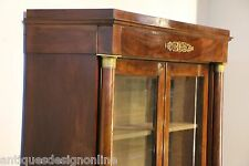 Tall French antique Empire bibiloteque mahogany bookcase 1820 library cabinet