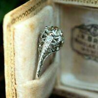 Open Work Antique Edwardian Engagement Ring 14K White Gold Over 2.01 Ct Diamond