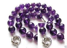"10mm Natural Purple Crystal Round Gemstone Hand Knoted Necklace 18""AAA"