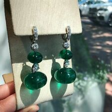 Deep Vivid Green Large Fancy Emerald With Clear White CZ Dangle Fashion Earring