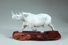 WHITE RHINO Sculpture New direct from John Perry 9in long Statue on Wood Decor