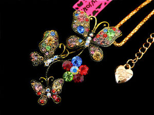 Betsey Johnson Multi-Color Crystal Cute Butterfly Pendant Necklace Chain  Pin
