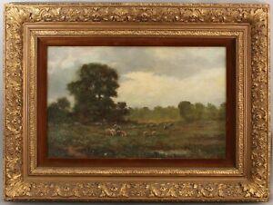 Antique Signed American Impressionist Bucolic Sheep Country Landscape Painting