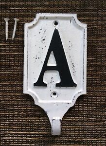 RARE POTTERY BARN Distressed Cream Iron Alphabet Letter A Wall Hook Discontinued