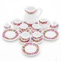 1/12 Miniatur Geschirr 15 Stück Chinesisch Lila Teeservice Set Puppenhaus Deko