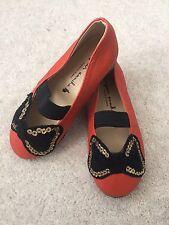 NEW Bonjour Annika Bow Mary Jane Girl's Leather Shoes, Orange, 150/UK7/US8/EU 24
