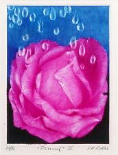 """GH G H Rothe """"Penuel 3"""" Rose Pink Original Mezzotint Hand Signed Art MAKE OFFER"""