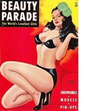 """TIN SIGN """"Beauty Parade Brunette"""" Pinup Babe Deco Garage Wall Decor"""