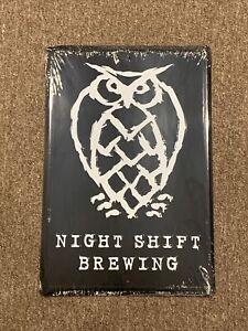 NIGHT SHIFT BREWING METAL TIN TACKER SIGN CRAFT BEER MA