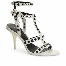 $190 Sz. 6M Kenneth Cole White Tabb Leather Studded  Sandals Heel  Shoes