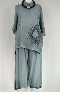 KEKOO Washed Blue Asymmetric Tunic Shirt  Size XL/XXL