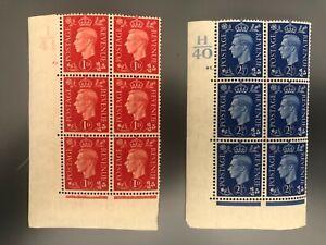 Royal Mail GB SG 463/6 George VI MNH 2 Blocks of 6 Control H40 & I41 Cat £155