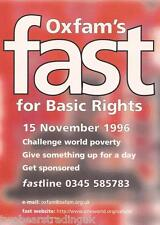 Postcard: Oxfam's Fast For Basic Rights 1996 - Sponsor Pack Request (Boomerang)