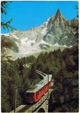 Postal Chamonix Mont Blanc. Le train du Montenvers et l'Alguille du Dru