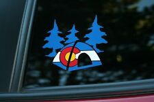 Colorado State Flag Camping Tent and Trees Die-Cut Sticker