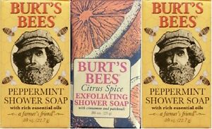3 BURT'S BEES PEPPERMINT & CITRUS BAR SOAP TRAVEL SIZE FREE SHIPPING US HTF