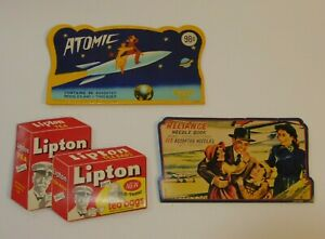Lot of 3 Old Vintage 1950s Sewing Needle Books ATOMIC SPACE LIPTON TEA AIRPLANE
