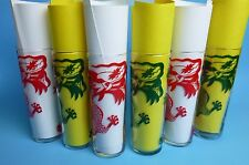 Vintage Red and Green Dragon Drinking Glasses Set of 6