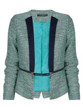 NEW SUITEBLANCO (ZARA GROUP) Tweed BOUCLE Jacket WAIST ZIP BLAZER BLUE GREEN L