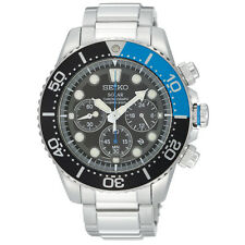 Mens Seiko Solar Stainless Steel Black Dial Chronograph Diver Sport Watch SSC017