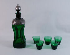 Arts & Crafts Green Glass Decanter Clad with Hammered Pewter w/Glasses