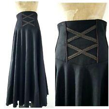 Steampunk Gothic Wool Skirt Size Medium Black Grunge Lolita Long Full Sweep