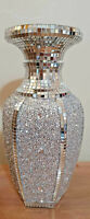 Crushed Diamond Ceramic Silver Vase Diamonte Bling  Home Decoration Ornament30cm
