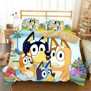 Bluey Dogs Duvet Doona Quilt Cover Set Single Double Queen King Size Bedding