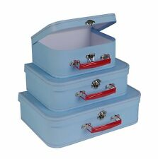 Soul & Lane Paperboard Suitcases (Set of 3, Retro) -  Light Blue Boxes