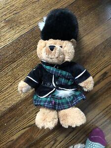 "Harrods Knightsbridge Teddy Bear Plush Piper Scottish Bagpipes Tartan Brown 17"""