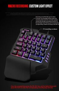 Gaming USB Wired Keyboard Mouse One-Handed RGB Backlight For Computer Laptop PC