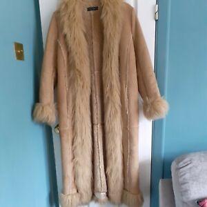 Sz 14 Long Afghan Coat Beautiful Clean Condition Faux Suede Sheepskin DP