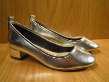Carvela Shoes Size 8 Silver Leather Court Shoe Low Heel Ladies Kurt Geiger NEW