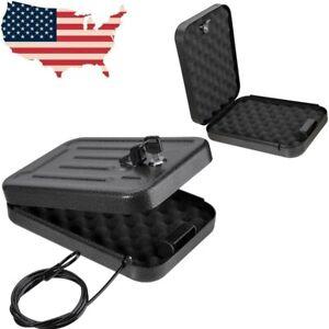 Gun Lock Box Car Hand Metal Handgun Pistol Security Cable Steel Case Money Key
