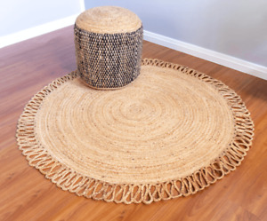 Rug 100% Natural Jute Bohemian Reversible Round Area Carpet home decor rag rugs