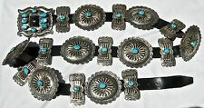 vin NAVAJO STERLING SILVER & AZ TURQUOISE LARGE BUTTERFLY CONCHO BELT 588g PAWN