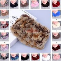 Handmade Real Rex Rabbit Fur Headbands Women's Winter Ring Cowl Snood Scarves
