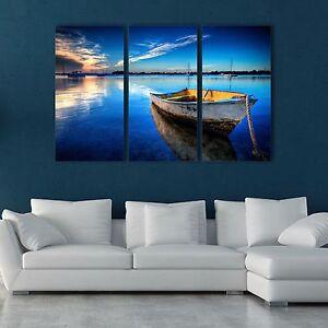Stretched Framed canvas prints Split printing seascape blue boat time-lapse art