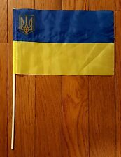 Ukraine Mini Flag Handle Yellow Blue Banner International Country Pennants World