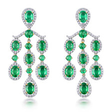 Beautiful Women Earrings 18k Two Tone Gold Diamond Engagement Emerald Earrings