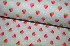 LAKEHOUSE vintage Country house Strawberries USA designer fabric 0.5m gray