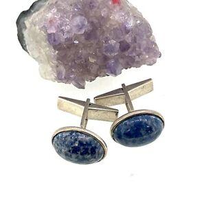 Sterling Silver Blue Marble Stone Cufflinks