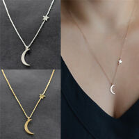 Moon Star Pendant Choker Necklace Gold Silver Long Chain Women's Jewelry''