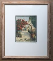 Original Art Watercolour Painting Continental Scene With Flowers By M Alfandary