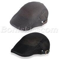 Men's Mesh Breathable Summer Cap Adjustable Gatsby Newsboy Cabbie Beret Flat Hat