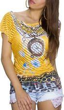 Sexy Femmes Strass Long Shirt Asymétrique Transparent Bandes 34/36/38 Jaune Haut
