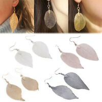Fashion Women's Long Natural Real Dipped Leaf Leaves Drop Dangle Earrings Gift