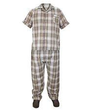 Mens 2 Pieces Woven Check Pyjama Set Lounge Wear Nightwear Top & Bottom M Cream