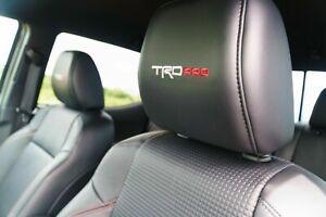 OEM Toyota Tacoma 16-21 TRD PRO Embroidered Black Leather Seat Headrest Set of 2